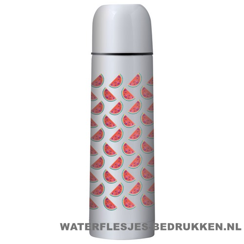 Thermosfles goedkoop klassiek wit 500ml bedrukt zilverkleur