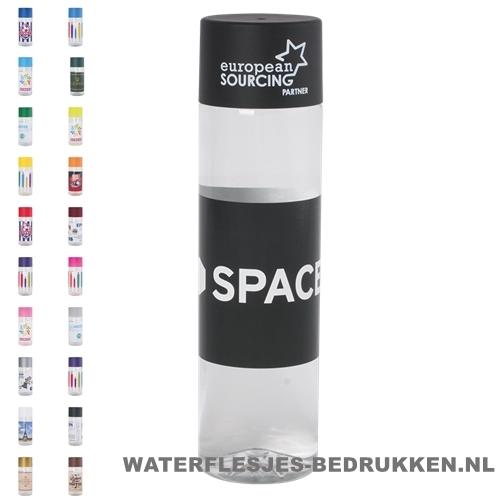 Ronde waterfles Cap'leau 550ml bedrukken zwart bedrukken 500 ml platte dop goedkoop hipe ronde fles