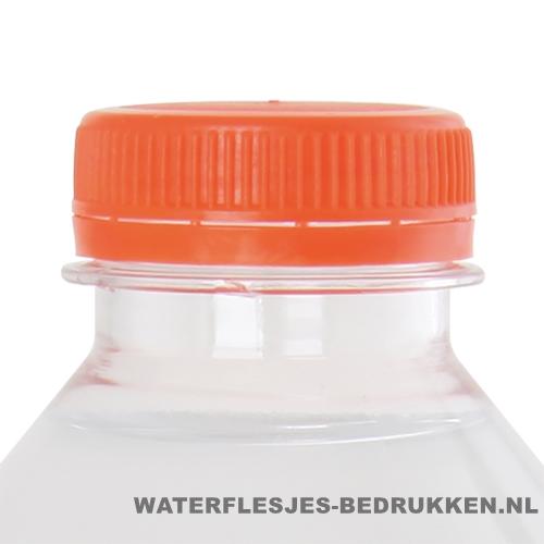 Waterflesje bedrukken 500 ml platte dop oranje
