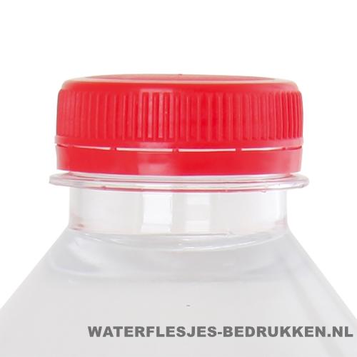 Waterflesje bedrukken 500 ml platte dop rood