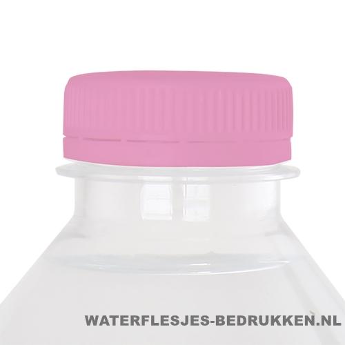 Waterflesje bedrukken 500 ml platte dop roze