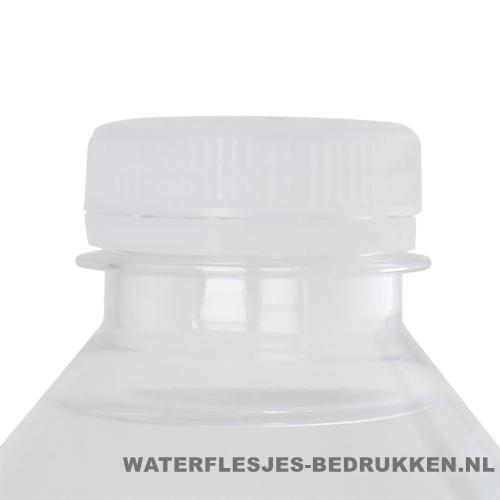 Waterflesje bedrukken 500 ml platte dop transparant