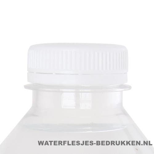 Waterflesje bedrukken 500 ml platte dop wit