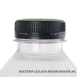 Waterflesje bedrukken 500 ml platte dop zwart